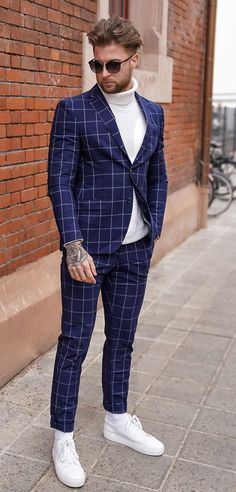 Blue Plaid Suit with White Turtleneck and Sneakers Outfit Blue Suit Outfit, Blue Plaid Suit, Blue Suit Men, Navy Suits, Groom Suits, Groom Attire, White Turtleneck Outfit, Mens Turtleneck, Best White Sneakers
