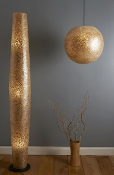 Golden Oyster Shell Ceiling Pendant Shade Unique and Unusual Lighting Gold Spheres Vaulted Ceiling Lighting, Gold Ceiling, Ceiling Shades, Ceiling Pendant, Pendant Lighting, Cool Lighting, Modern Lighting, Lighting Ideas, Tall Floor Lamps