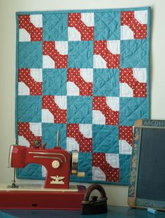 Bow Tie Quilt (from Bits and Pieces, Martingale). I love red and turquoise together!