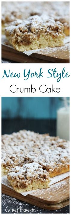 New York Style Crumb Cake - Classic comfort food. This perfect tender crumb cake makes a delicious breakfast or dessert alongside coffee.