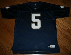 New University Notre Dame Football ND Irish Blue #5 Adidas Jersey shirt-Men's XL