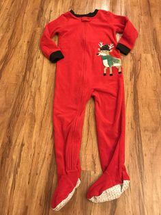 NWT Baby Gap boy girl red striped snowman HOLIDAY 2-piece pajama SET 18 24 3 3T