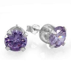 Amethyst Cubic Zirconia Round Purple CZ Sterling Silver 4 mm Stud Earrings DazzlingRock Collection. $4.99. Save 83% Off!