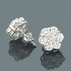 14K Gold Earrings Round Diamond Clusters 3.95ct