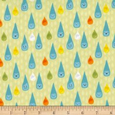 Michael Miller Minky Sunny Day Sunny Day Raindrop Multi from @fabricdotcom  From Michael Miller, this lovely minky fabric features a cozy low nap pile and is printed. It is perfect for apparel, blankets, throws, accents and stuffed animals. Colors include white, grey, yellow, golden orange, orange, light orange, black and shades of blue and green.
