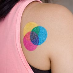 Yay, Tina Roth Eisenberg is back with another temporary tattoo design, this time for all of the print enthusiasts. Show your love for subtractive color with this bold Tattly. Inspired by Jessica Hisch
