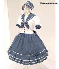 Heart Pocket Sailor Dress OP by Metamorphose Temps de Fille Cute Skirt Outfits, Pretty Outfits, Pretty Dresses, Beautiful Outfits, Kawaii Fashion, Lolita Fashion, Cute Fashion, Fashion Outfits, Sailor Dress