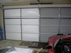 Living Stingy: Insulating Your Garage Door - For CheapWith about $120 of plastic-coated polystyrene (Styrofoam) we were able to insulate the door in about two hours.  The material was bought at Lowe's.  We bought 8 sheets for about $13 apiece.   We used seven.   The foam is coated with foil on one side, and a clear plastic on the other.  We used the clear plastic on the inside, as it provided an attractive, wipe-clean surface.