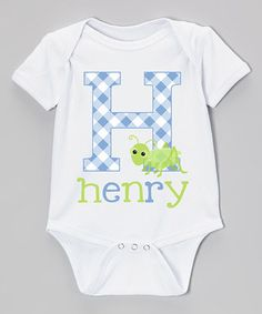 Look what I found on #zulily! White & Blue Gingham Personalized Bodysuit - Infant #zulilyfinds