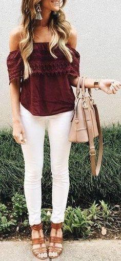 Merlot off the shoulder top & white skinny jeans.
