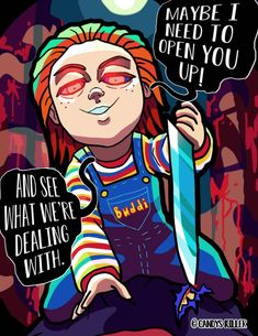 There´s not enough material of Buddi Chucky being a meany zucchini around, and I gotta fix that right away! Chucky Horror Movie, Chucky Movies, Horror Movie Characters, Horror Movies, Arte Horror, Horror Art, Horror Icons, Childs Play Chucky, Funny Horror