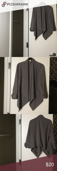 BCBGirls Drape Blazer - Gray, S Drape blazer that goes well with jeans and dresses up; three-quarter sleeve, slightly longer in the front than back, hits at hip in front. BCBGirls Jackets & Coats Blazers