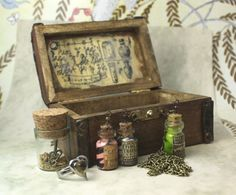 Steampunk Pendant Jewellery Box Wooden Gift Set  - apothecary jars in a tiny chest with funny magic potions by TeenyAlchemy, £26.00