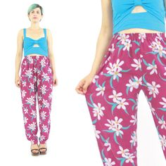 80s Floral Print Pants Tropical Print Pants by honeymoonmuse