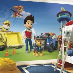 Paw Patrol Mural - This Paw Patrol wall decal is going to transform your child's room into the best looking kids room around! #paw #patrol #mural #wall #decal #sticker