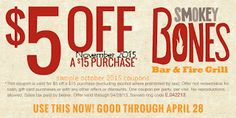 Smokey Bones Coupons Ends of Coupon Promo Codes JUNE 2020 ! But Bones open Bones, in grill Smokey not it good but good one's it who fo. Restaurant Coupons, Grill Restaurant, Free Printable Coupons, Free Printables, Smokey Bones, Coupons For Boyfriend, Fire Grill, Love Coupons, Grocery Coupons