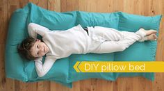 learn how to make a pillow bed or pillow chair for kids the cheap & easy way, using a flat twin sheet. free sewing pattern and tutorial included.