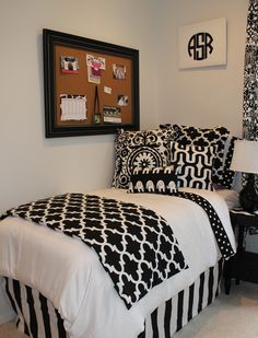 black and white chic and sophisticated dorm room bedding add a pop of lime, blue,pink, red or yellow. custom dorm room designs www.decor-2-ur-door.com