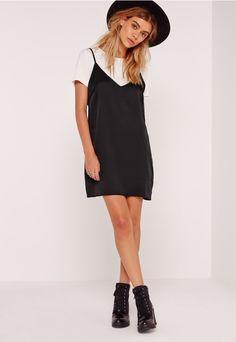 PETITE T-SHIRT INSERT CAMI DRESS BLACK #fashion #stylish #newtrend #shoptagr