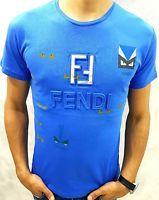 Fendi T-Shirt Short Sleeve Blue Colour Size: S, M, L, XL, XXL