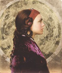 """Padme Resplendent with Naboo Mandala"" by Artist: Carl J. Samson / 22 & gold leaf background on rare era chestnut panet / Portrait of Natalie Portman / Star Wars Art: Visions, Collection of George Lucas The Artist Magazine, Oil Portrait, Portrait Paintings, Leaf Background, Mandala Painting, Star Wars Art, American Artists, Art Oil, Art Techniques"