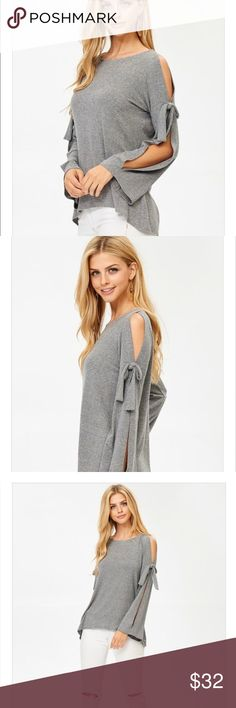 Bell Sleeve Cold Shoulder Top Great bell sleeve cold shoulder top with ties! Super cute to pair with leggings or jeans! Super comfortable! Great charcoal color! Tops