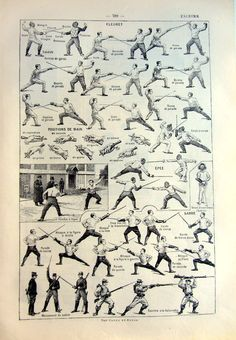 Antique sports 1923 fencing french engraving by LyraNebulaPrints, $18.00