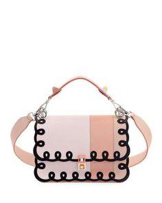 FENDI KAN I SWIRL LEATHER SHOULDER BAG, PINK. #fendi #bags #shoulder bags #hand bags #leather #lining #