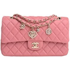 Chanel Limited Edition Pink Quilted Valentine Charm Flap Bag (16.665 BRL) ❤ liked on Polyvore featuring bags, handbags, chanel, purses, red hand bags, pink quilted handbag, quilted handbags, handbags purses and hand bags