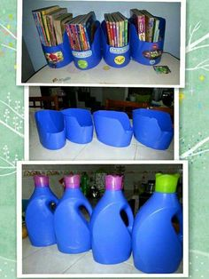 Empty plastic bottles for storing CD, booklets, etc. Empty plastic bottles for storing CD, booklets, etc. Empty Plastic Bottles, Plastic Bottle Crafts, Plastic Recycling, Recycled Bottles, Diy Magazine Holder, Craft Storage, Kids Playroom Storage, Cord Storage, Recycled Crafts
