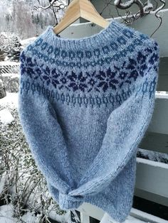 Genser i «Drops air Fair Isle Knitting, Knitting Yarn, Sweater Knitting Patterns, Knit Patterns, Icelandic Sweaters, Casual Sweaters, Pattern Fashion, Knitwear, Knit Crochet