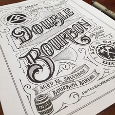"""100% hand drawn #coffee #label. I had to draw this in """"reverse,"""" because the final printed version is white on black. #DoubleBourbonCoffeeLabel __ Hand Lettering by [ts]Christer __ www.letteringsupply.com #LetteringSupplyCo."""