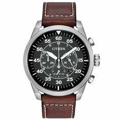 Citizen CA4210-24E Men's Avion Eco-Drive Black Dial Brown Leather Strap Chrono Watch
