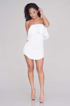 Ruffled Strapless Dress - New Arrivals