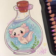 Cute Kawaii Animals, Cute Animal Drawings Kawaii, Cute Cartoon Drawings, Cool Art Drawings, Easy Drawings, Cartoon Art, Adorable Drawings, Arte Do Kawaii, Kawaii Art