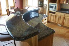 tile backsplash, granite countertop & oak colored cupboards | Granite Countertop Chicago