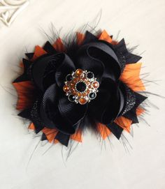 Halloween hair bow Orange and black hair by JoyfulJossyBowtique