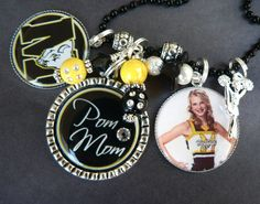 CHEER MOM Necklace- Triple Pendant-Fully Customizable Team Name, Colors with Photo Pendant, Cheerleader Charm, Dance, Cheer, Pom Mom