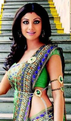 Shilpa Shetty...blue and green look so good together
