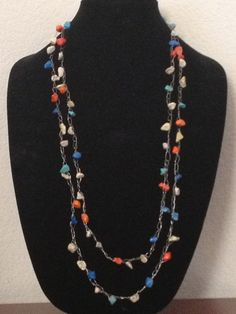 Multicolored Nugget Silver Wire Crochet by LadybugCharJewelry, $18.00