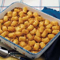 Tater Taco Casserole Recipe Main Dishes with ground beef, chopped onion, taco seasoning, water, whole kernel corn, drain, condensed fiesta nacho cheese soup, frozen tater tots