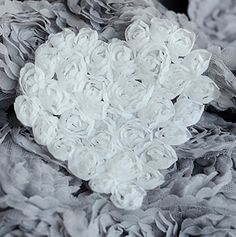 4 White 4.5' Shabby Chic Chiffon Rosette Flower Heart Applique Chiffon Rose Heart Lace Trim Wedding Craft DIY Supply LA037 *** Learn more by visiting the image link.