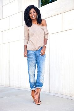 Off Shoulder Knit Sweater + Distressed Boyfriend Jeans: Style Pantry waysify
