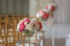 Glass Pedestal Aisle Decor with Peonies, Roses, Dusty Miller and Dendrobium Orchids.  Germania Place Wedding. Kenny Kim Photography. Sweetchic Events. Vale of Enna.