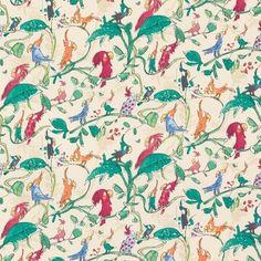 Cockatoos,Collection de tissus et papiers peints Zagazoo par Quentin Blake pour Osborne and Little
