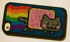 Nyan Cat Stitched iPhone Case   from Flickr user, poppet with a camera #geek #crossstitch