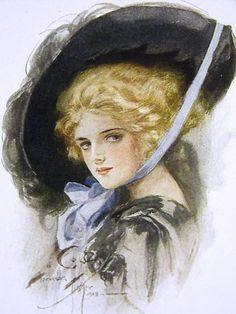 "Gibson Girls Illustrations | Harrison Fisher 1908 ""Indecision"" | La Belle Époque ~ Edwardian Era ..."