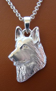 Large Sterling Silver German Shepherd Dog Head Study by BestK9buds