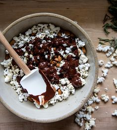 dark chocolate popcorn party mix + rosemary sea salt   what's cooking good looking