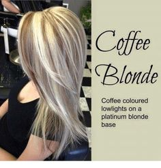Platinum blonde hair with coffee lowlights Coffee Blonde hair. Platinum blonde hair with coffee lowlightsCoffee Blonde hair. Platinum blonde hair with coffee lowlights Brown Blonde Hair, Platinum Blonde Hair, Golden Blonde, Black Hair, Love Hair, Great Hair, Hair Color Highlights, Platinum Highlights, Blonde Color